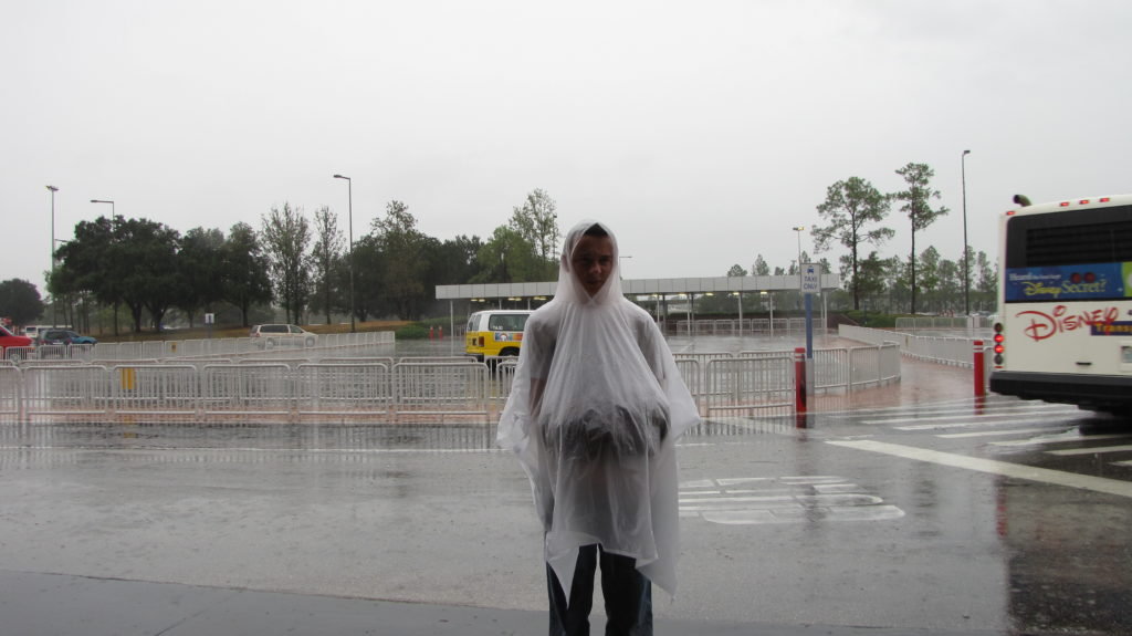 Standing in the rain at Walt Disney World