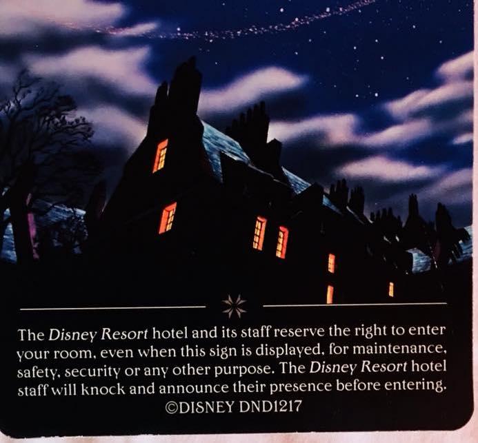 Disney's room door card disclosure