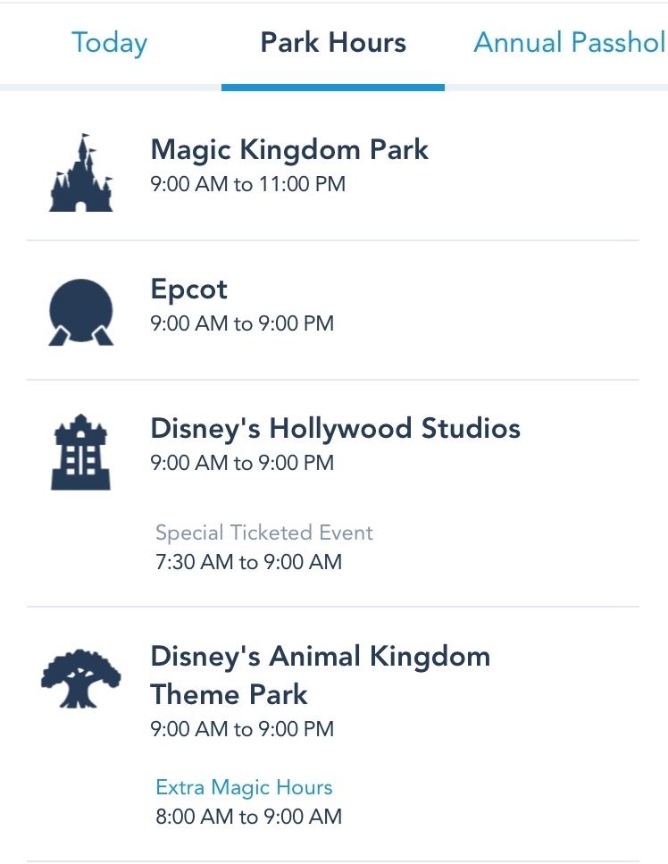 Theme park hours
