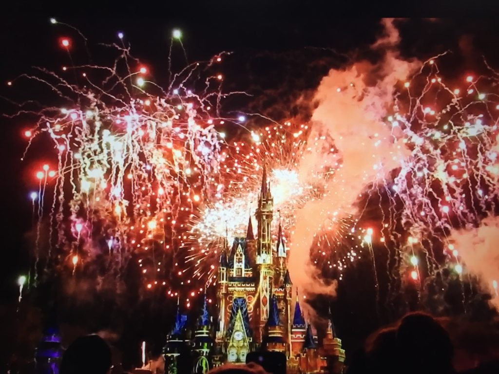 Cinderella castle with Happily Ever After fireworks.