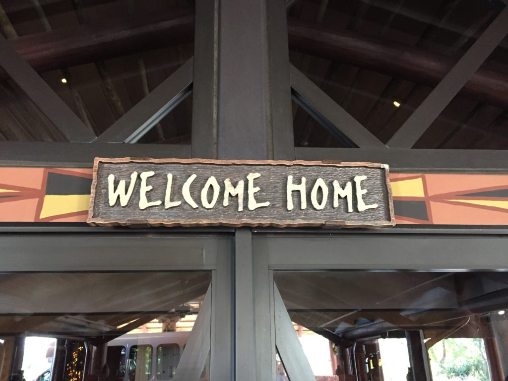 Welcome Home sign at Animal Kingdom.