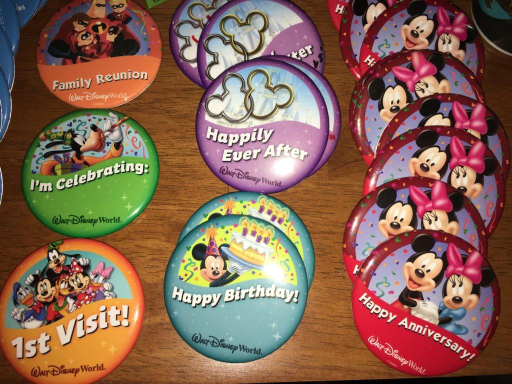 Disney celebration button pins