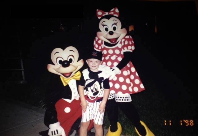 Mickey and Minnie with my son at Coronado Springs Resort.