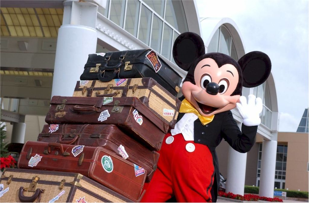 Mickey with luggage