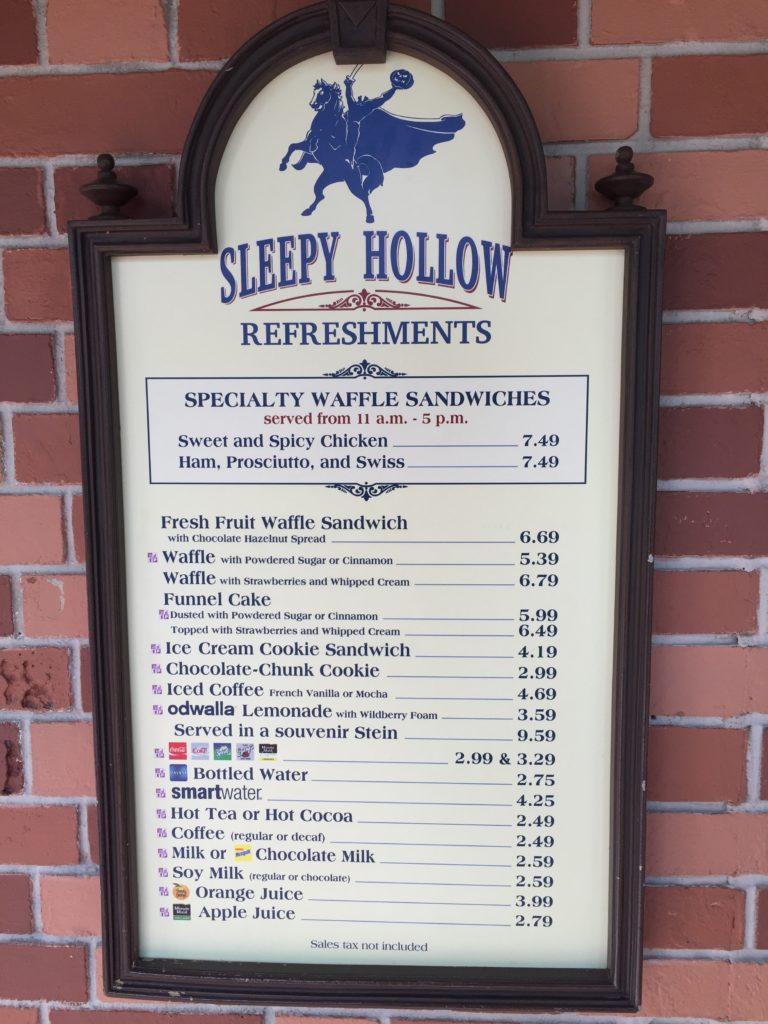 Sleepy Hollow menu