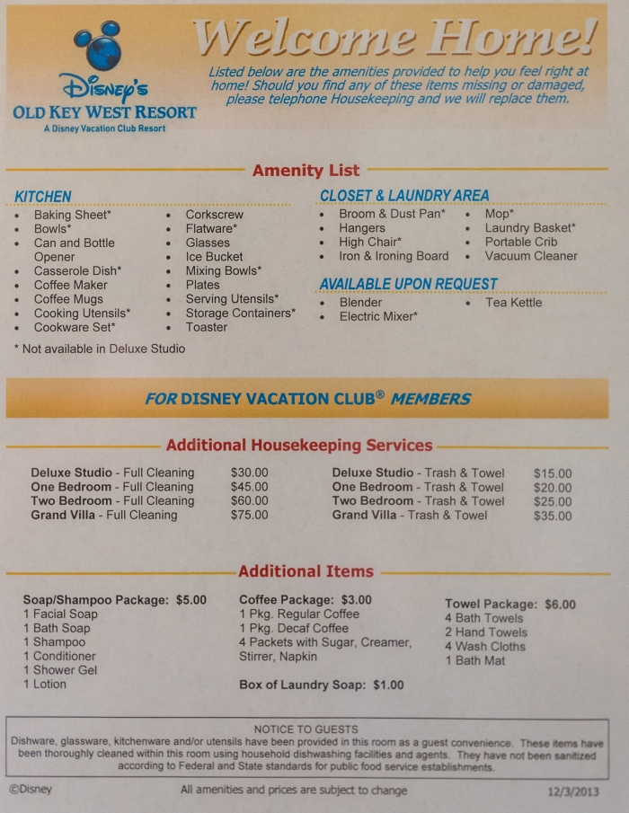 Disney's amenity list and charges.